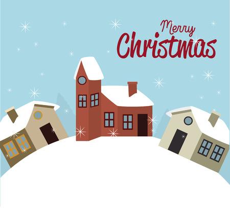 schneelandschaft: Weihnachts-Design auf blauem Hintergrund Vektor-Illustration Illustration