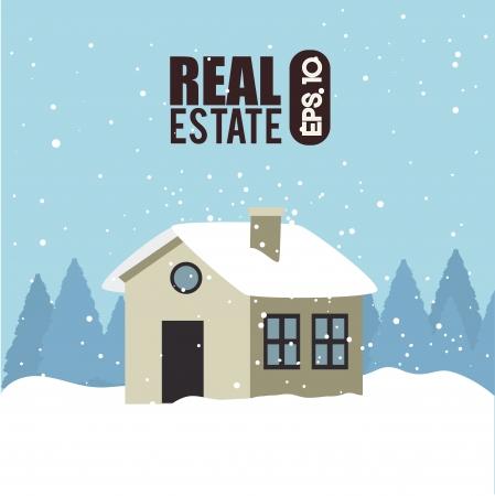 schneelandschaft: Immobilien-Symbole �ber Himmel Hintergrund Vektor-Illustration