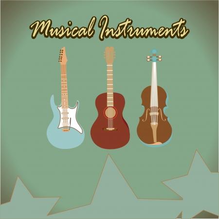 instrument practice: music design over vintage background vector illustration  Illustration