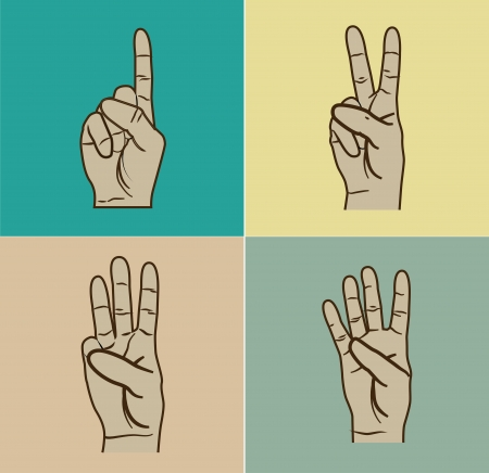 nonverbal: hands gesture over colors  background vector illustration