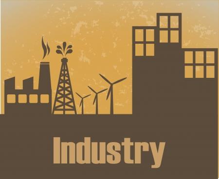 industry design over sunset  background vector illustration  Stock Vector - 24320306