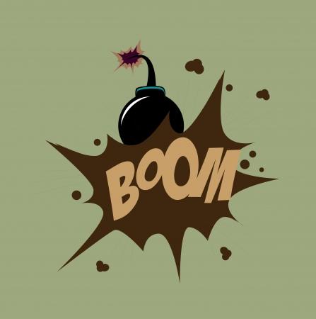 g�lle: Bomb Design �ber gr�nem Hintergrund Vektor-Illustration Illustration