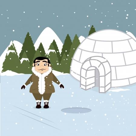 schneelandschaft: arktischen Design �ber Schneelandschaft Hintergrund Vektor-Illustration