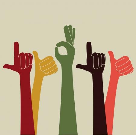 gesto de las manos sobre fondo beige ilustración vectorial Ilustración de vector