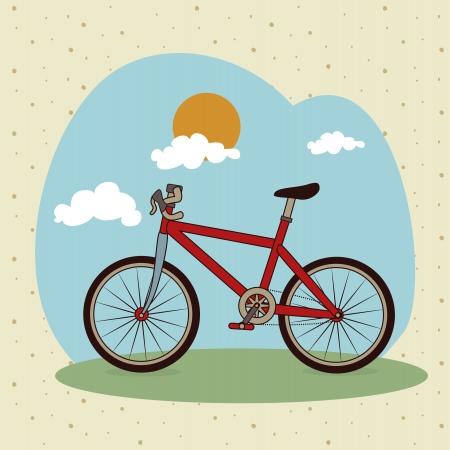 bicycle design over landscape background vector illustration   Vector