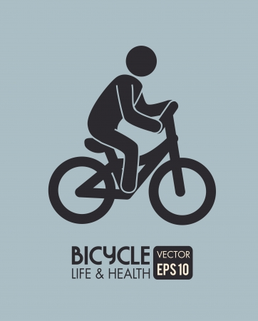 cyclist silhouette: bicycle design over gray background vector illustration