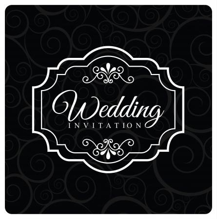 wedding design over black background vector illustration Vector