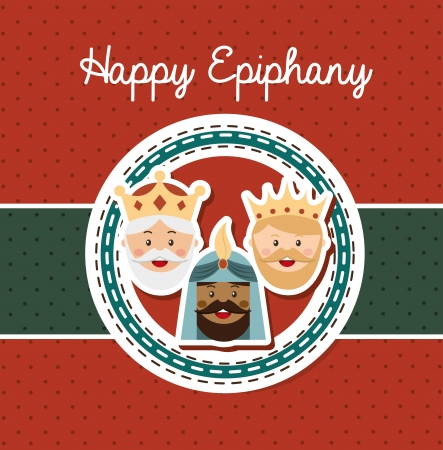 balthasar: happy ephipany over dotted background vector illustration Illustration