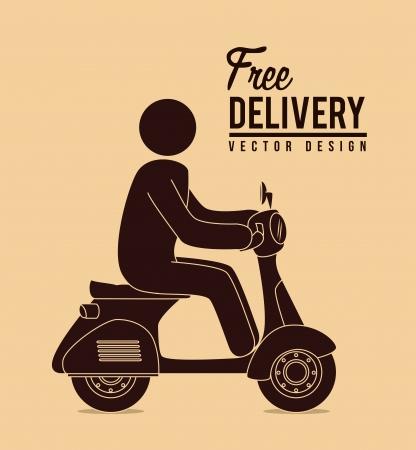 vespa piaggio: consegna gratuita su sfondo rosa. illustrazione vettoriale Vettoriali