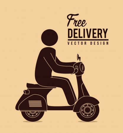 vespa: free delivery over pink background. vector illustration Illustration