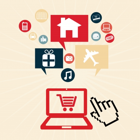 ecommerce design over pink background vector illustration   Stock Vector - 24459928