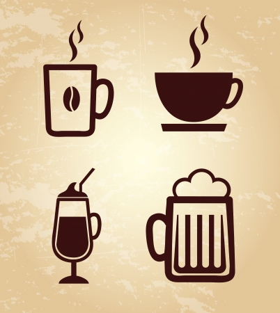drinks icons over grunge background vector illustration Vector