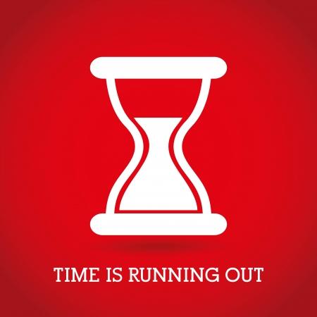 punctual: tiempo de diseño sobre fondo rojo ilustración vectorial