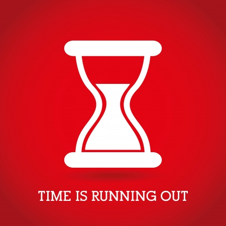 clock icon: time design  over red background vector illustration