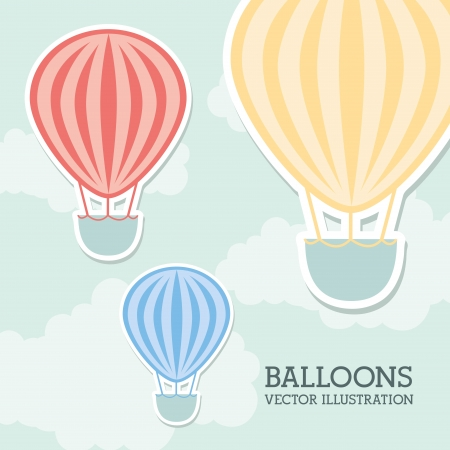 balloons air over sky background vector illustration Vector