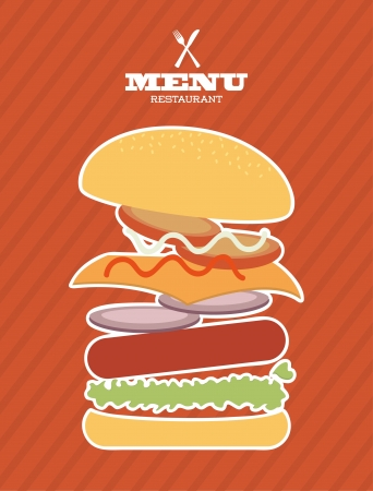 menu fast food design over lineal background vector illustration Vector