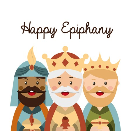 balthasar: happy ephipany over white background vector illustration