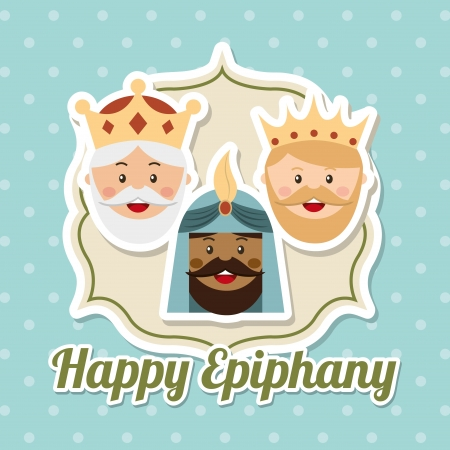 balthasar: happy ephipany over blue background vector illustration