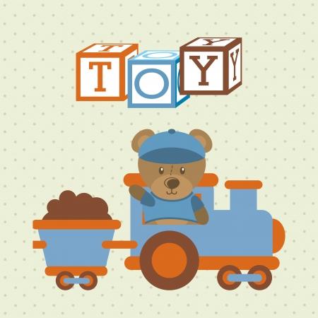 kids toys over dotted   background vector illustration
