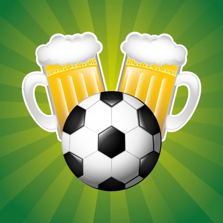beer and sport over green  background vector illustration Vector