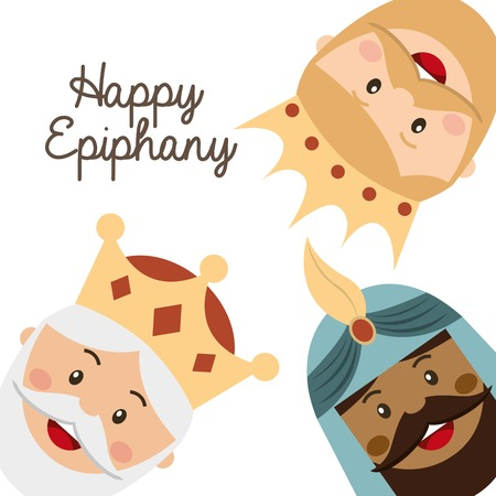 balthasar: happy ephipany over  white background vector illustration Illustration