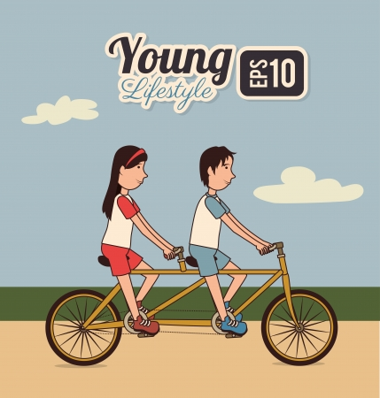 young design over sky background vector illustration Vector