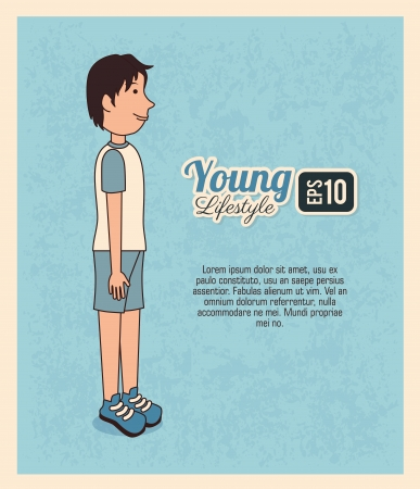 young design over blue background vector illustration Vector