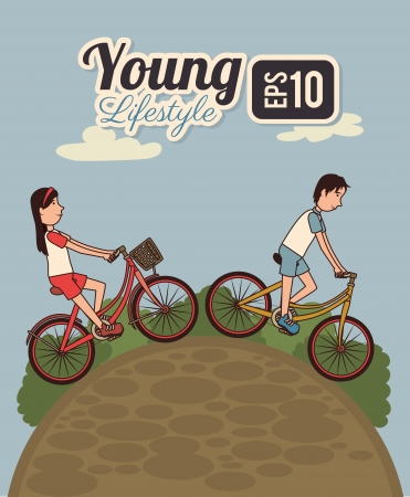 young design over landscape background vector illustration Vector