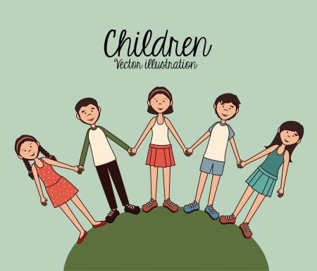 Children design over sky background vector illustration Vector