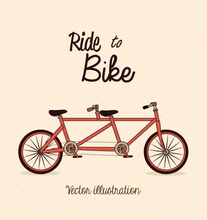 Tandem: bicycle design over pink background vector illustration   Illustration