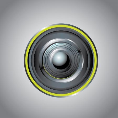 camera lens over gray illustration