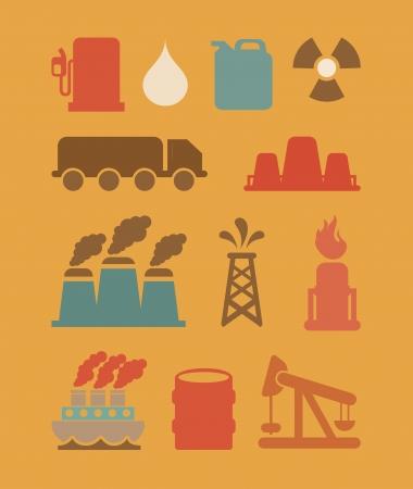 combust: oil industry over orange background vector illustration
