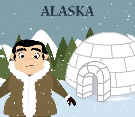 snowscape: alaska design over snowscape background vector illustration