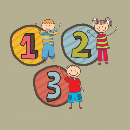 numbers design over beige  background vector illustration Vector
