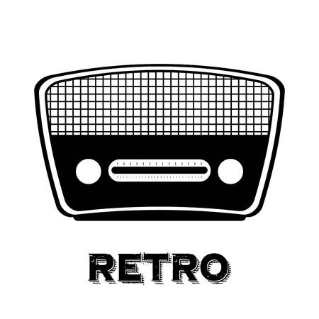 흰색 배경 벡터 일러스트 레이 션 위에 오래 된 라디오