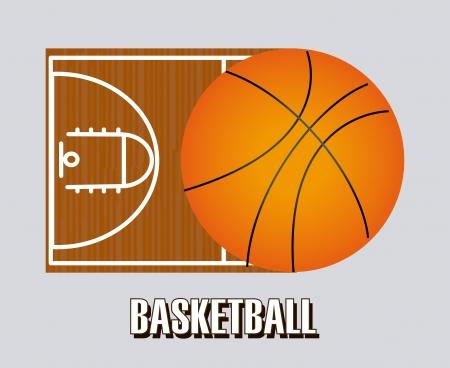 balon baloncesto: diseño de baloncesto sobre fondo gris ilustración vectorial