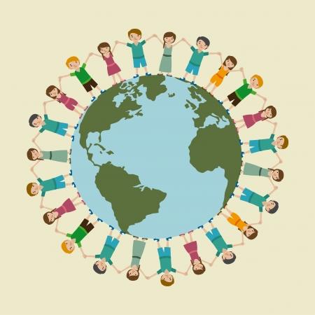 children world over beige background  vector illustration Vector