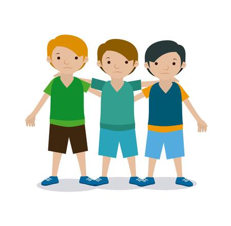 kids team over white background vector illustration Illustration