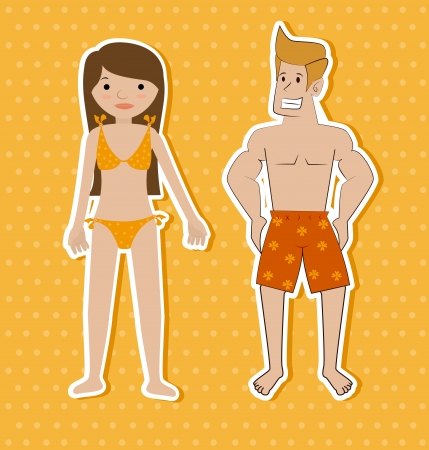 swimsuit design over dotted background vector illustration  Vector