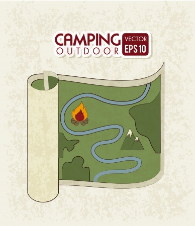 camping design over pink background vector illustration Vector