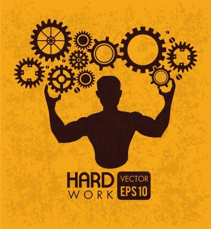 consept: gears design over yellow background vector illustration Illustration