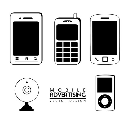 web desig: mobile advertising over white background vector illustration