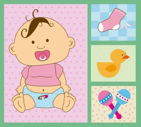 baby design over green background vector illustration Vector