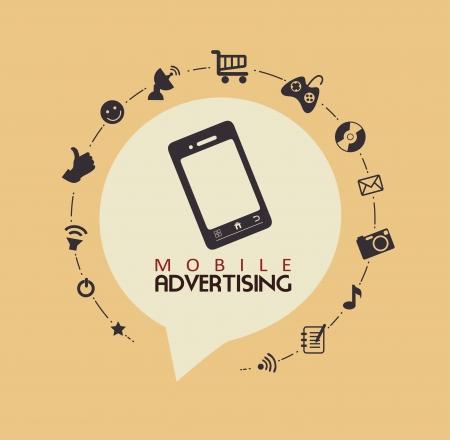 mobile marketing: mobile advertising over pink background vector illustration
