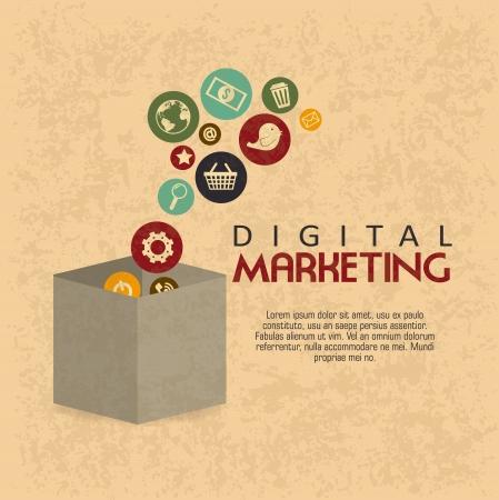 digitální: Digitální marketing přes vzor pozadí vektorové ilustrace Ilustrace