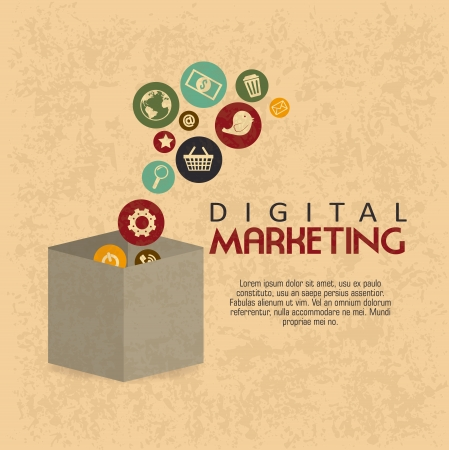 money boxes: digital marketing over pattern  background vector illustration  Illustration