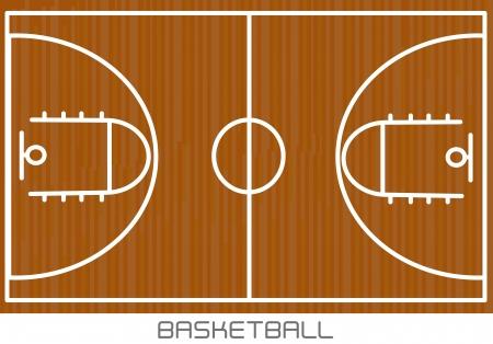professional basketball league: basketball design over court  background vector illustration