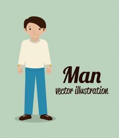 flushed: man design over blue background vector illustration Illustration
