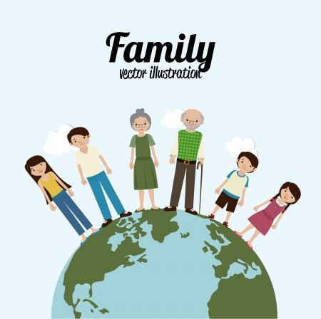 flushed: family design over blue background vector illustration