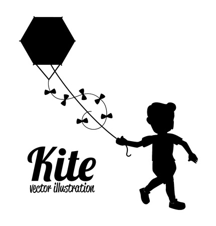 boy with ket drawing over white background vector illustration
